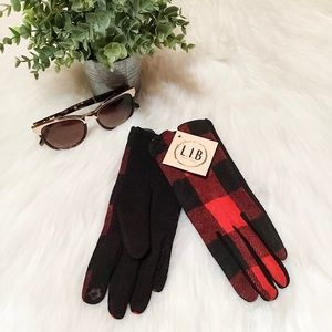 Red & Black Buffalo Check Women's Gloves